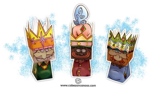 Muestra de las manualidades recortables reyes magos